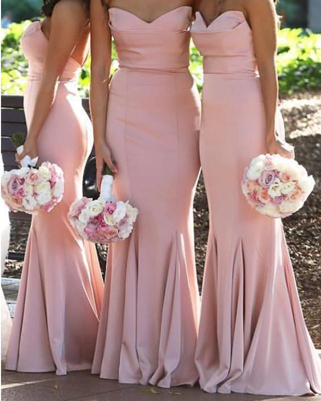 Baby-Pink-Bridesmaid-Dresses-Long-Satin-Formal-Gowns