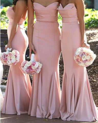 Image of Baby-Pink-Bridesmaid-Dresses-Long-Satin-Formal-Gowns
