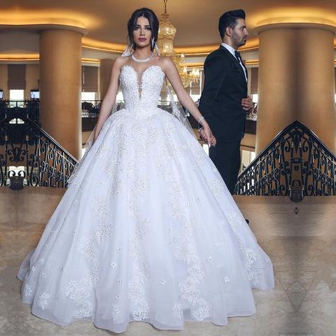 Image of Elegant Lace Appliques Sweetheart Tulle Wedding Dresses Ball Gowns