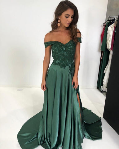 Image of off shoulder prom dresses