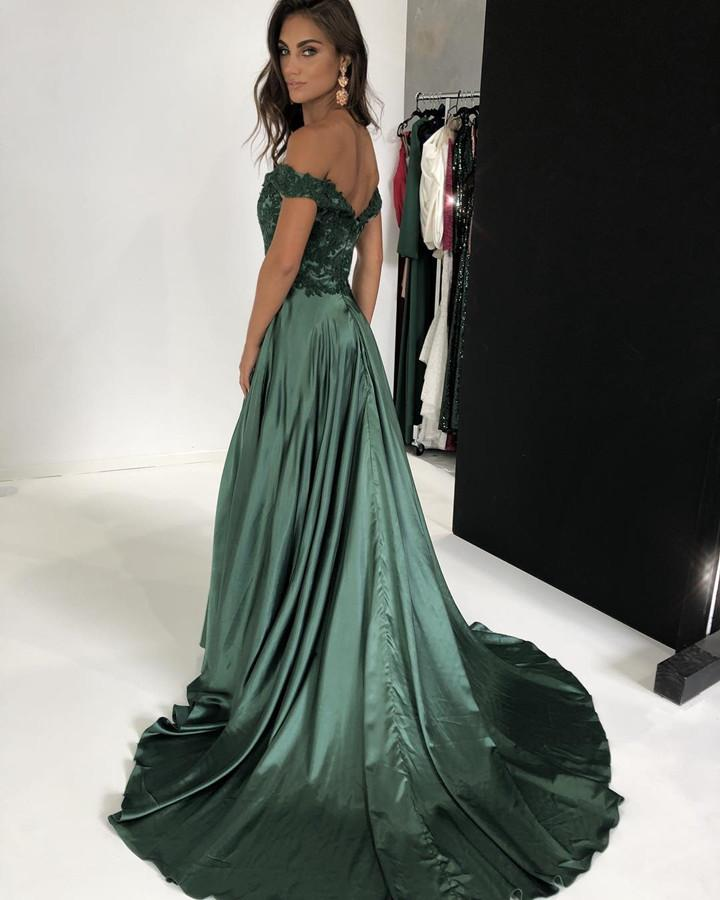 green evening gowns