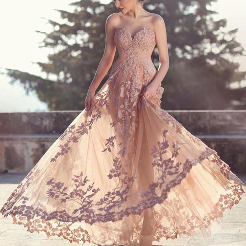 Image of Champagne Lace Sweetheart Mermaid Evening Dresses