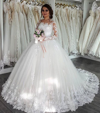Image of long sleeves lace wedding dresses