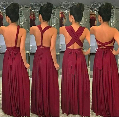 Image of Long Jersey Floor Length Bridesmaid Dresses Convertible Style
