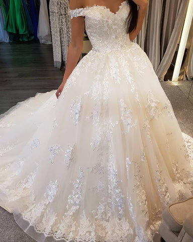 Image of Ivory-Lace-Embroidery-Sweetheart-Tulle-Wedding-Ballgowns-Dresses-Vintage