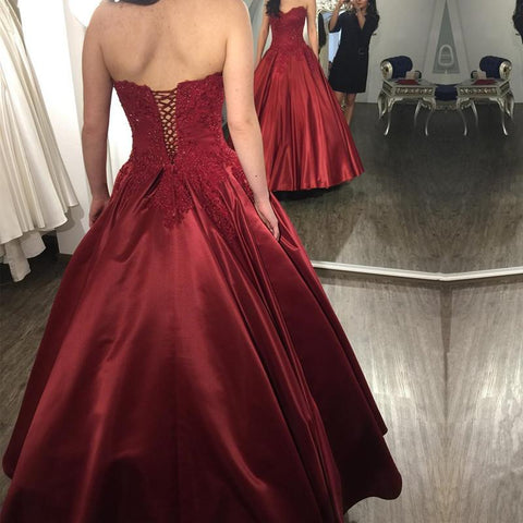 Image of Lace Appliques Long Satin Burgundy Wedding Dresses Ball Gowns
