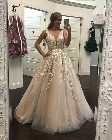 Image of Champagne Lace Embroidery Tulle V-neck Floor Length Prom Dresses