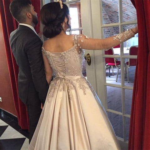 Image of champagne satin long sleeves ball gowns prom dresses