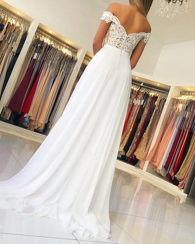 Image of Lace-Off-The-Shoulder-Prom-Dresses-Ivory-Evening-Gowns