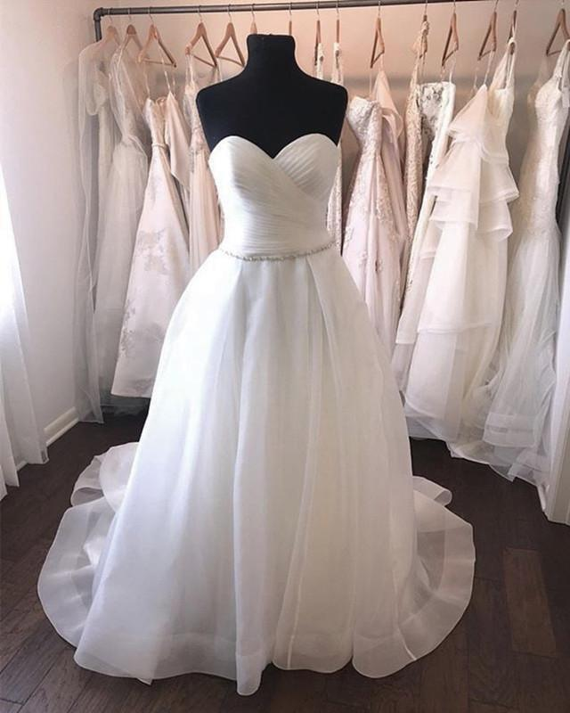 A-line-Sweetheart-Wedding-Dresses-Organza-Bridal-Gowns