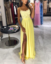 Afbeelding in Gallery-weergave laden, Yellow-Prom-Dresses-Long-Chiffon-Evening-Gowns-Lace-Appliques