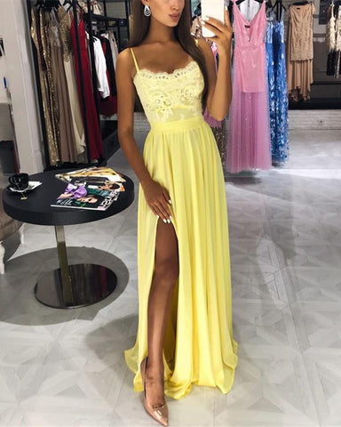 Image of Yellow-Prom-Dresses-Long-Chiffon-Evening-Gowns-Lace-Appliques