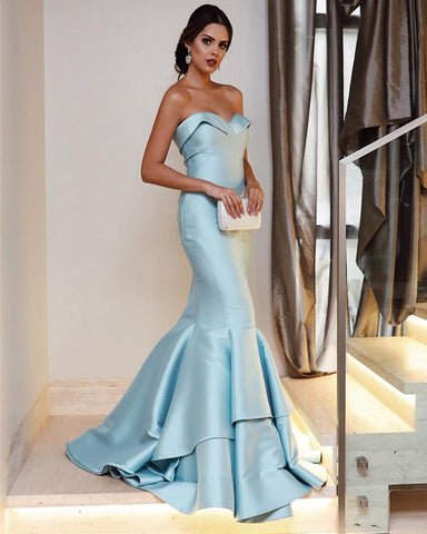 Image of Baby-Blue-Prom-Dresses-Mermaid-Sweetheart-Evening-Gowns