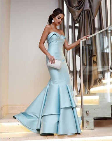 Image of Light-Blue-Evening-Dresses-Sweetheart-Prom-Dress-Long-Sexy
