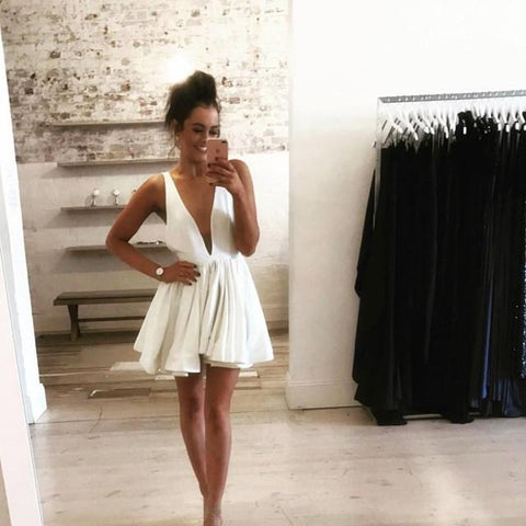 Image of sexy plunge neck short prom homecoming dresses 2017
