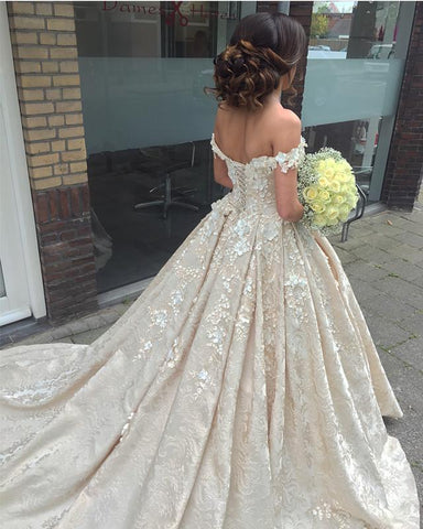 Image of Elegant-3D-Flowers-Ball-Gowns-Wedding-Lace-Dresses