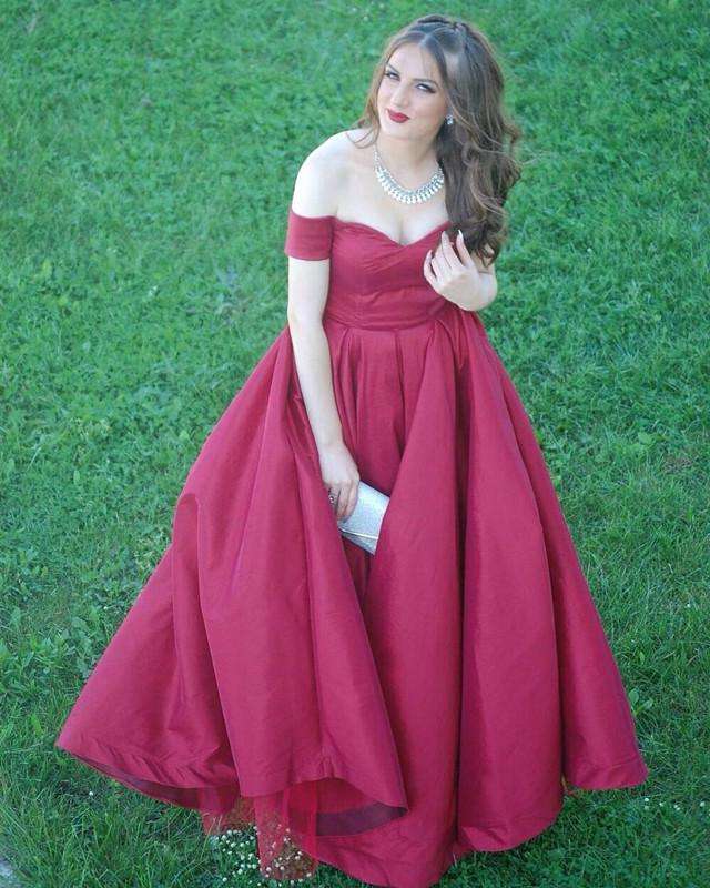 A-line V-neck Off The Shoulder Long Satin Plus Size Prom Dresses