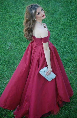 Image of A-line V-neck Off The Shoulder Long Satin Plus Size Prom Dresses