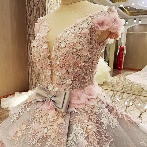 Image of Luxurious Royal Train Lace Wedding Dresses Ball Gowns With Floral Flowers