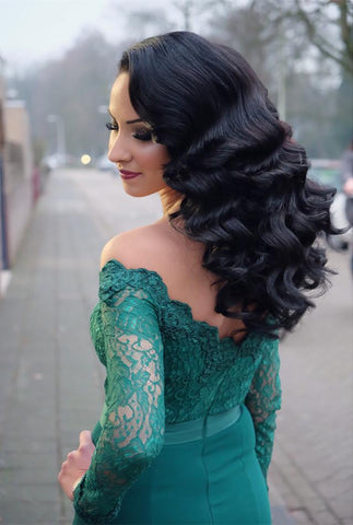 Image of Elegant-Lace-Off-Shoulder-Prom-Dresses-Long-Sleeves