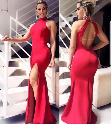 Image of Sexy Halter Neck Open Back Long Slit Mermaid Evening Dresses