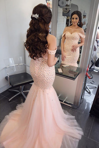 Image of Sexy-Long-Mermaid-Evening-Gowns-Crystal-Beaded-Prom-Dress
