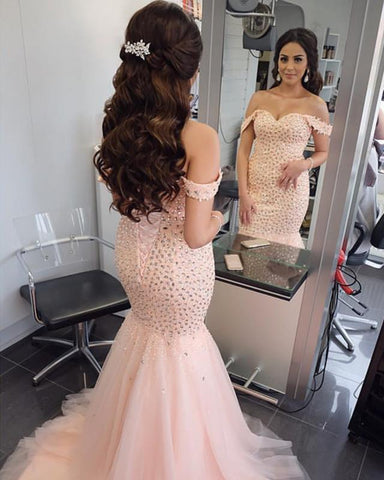 Image of Blush-Prom-Dresses-Mermaid-Crystal-Evening-Gowns-Off-The-Shoulder