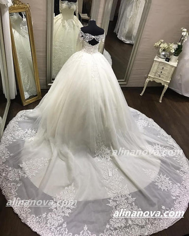 Image of Lace Long Sleeves Open Back Wedding Dresses Ball Gowns Off Shoulder