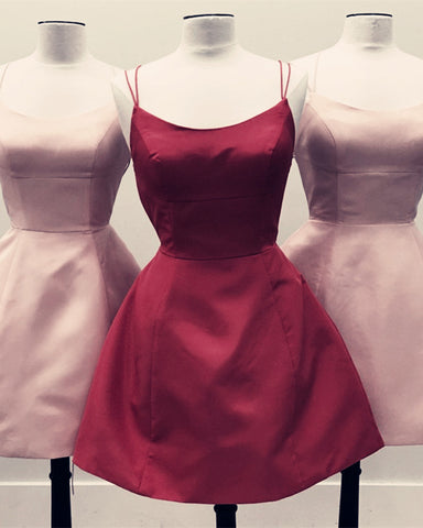 Image of Burgundy-Cocktail-Dresses-A-line-Backless-Prom-Gowns-Short-Graduation-Dress