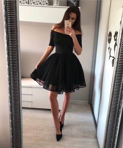 Image of Short A-line Off The Shoulder Tulle Homecoming Dresses