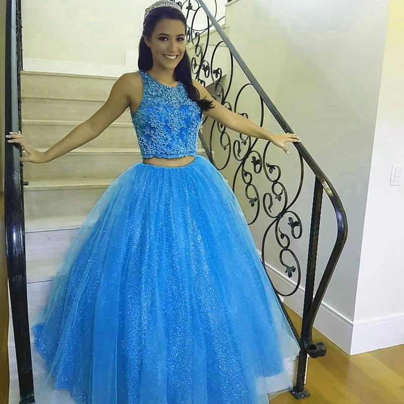 Pretty Lace Crop Top Tulle Ball Gowns Quinceanera Dresses Two Piece