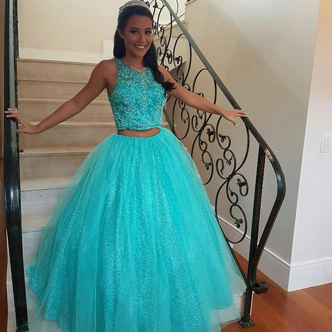 Image of Pretty Lace Crop Top Tulle Ball Gowns Quinceanera Dresses Two Piece