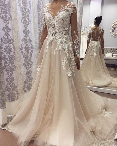 Image of Illusion Long Sleeves Champagne Tulle Wedding Dresses With Lace Flowers Beaded