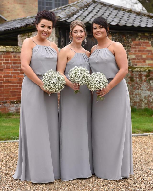 Modern Style Long Chiffon Halter Long Bridesmaid Dresses Plus Size