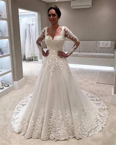 Image of Lace-Long-Sleeves-Wedding-Dresses