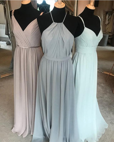 Image of Modern Style Long Chiffon Halter Long Bridesmaid Dresses Plus Size