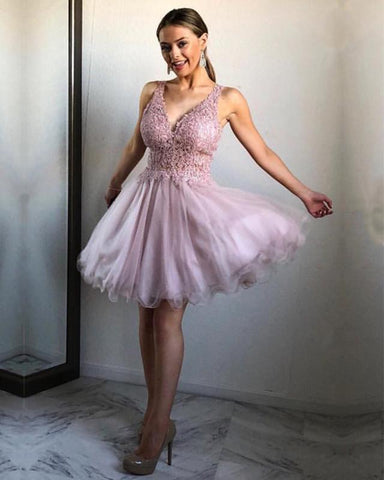 Image of Chic Lace Appliques V-neck Ruffles Homecoming Dresses Short Party Gowns