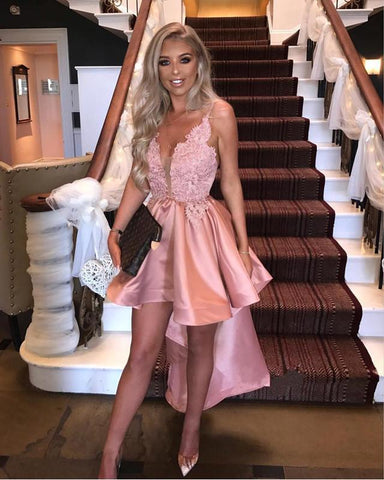 Image of Elegant-High-Low-Dresses-Prom-Party-Cocktail