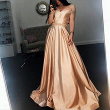 Afbeelding in Gallery-weergave laden, Long Champagne V Neck Evening Dress Off Shoulder Prom Gowns