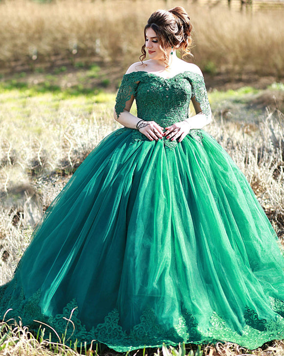 Lace Off The Shoulder Tulle Ball Gown Wedding Dresses Green