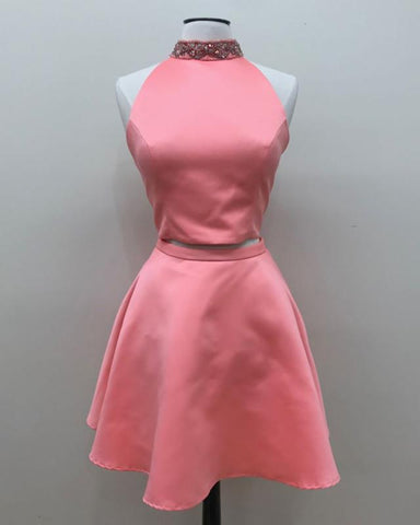 Image of Coral-Pink-Homecoming-Dresses-Short-Prom-Two-Piece-Dress