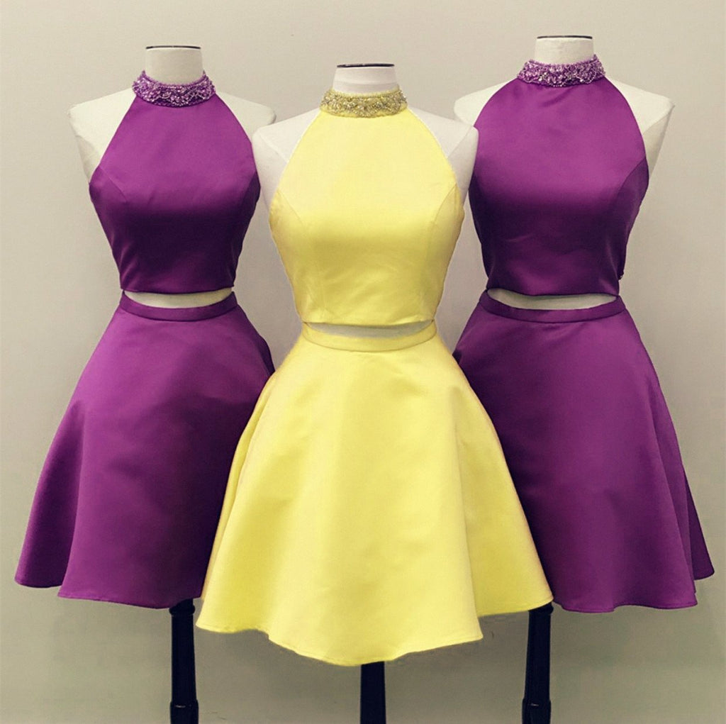 Two-Piece-Prom-Dresses-Yellow-Homecoming-Dress-Satin-Graduation-Dresses