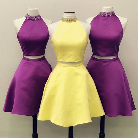 Image of Two-Piece-Prom-Dresses-Yellow-Homecoming-Dress-Satin-Graduation-Dresses