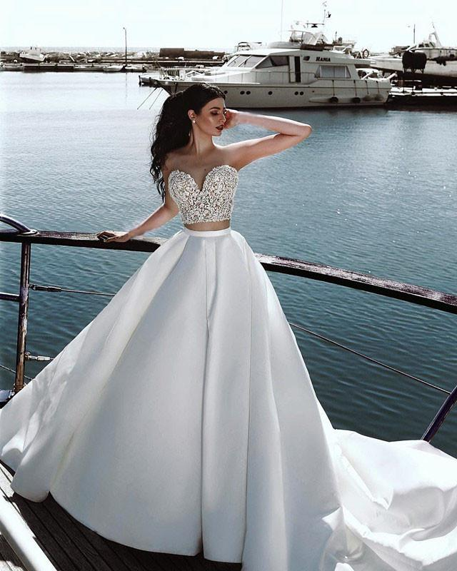 Two-Piece-Wedding-Dresses-Ball-Gowns-For-Bride