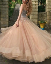 Afbeelding in Gallery-weergave laden, Sparkly Sequin Beaded Sweetheart Organza Ruffles Prom Ballgown Dresses