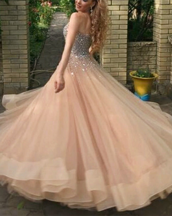 Sparkly Sequin Beaded Sweetheart Organza Ruffles Prom Ballgown Dresses