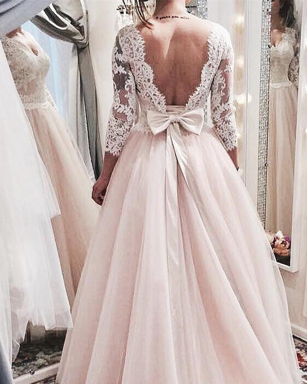 Modest 3/4 lace Sleeves Bow Back Tulle Princess Wedding Dresses 2018