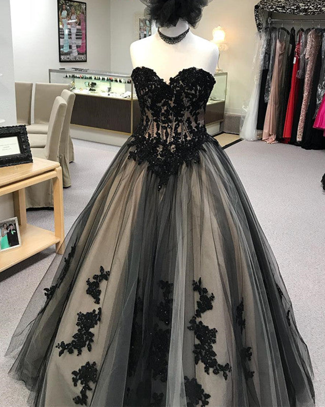0ca66e416a Double tap to zoom · Black Lace Embroidery Sweetheart Tulle Ball Gowns  Quinceanera Dresses