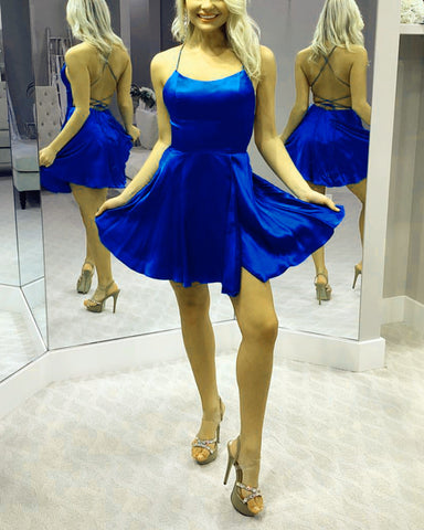 Image of Short Mini A-line Cross Back Satin Homecoming Dresses With Slit