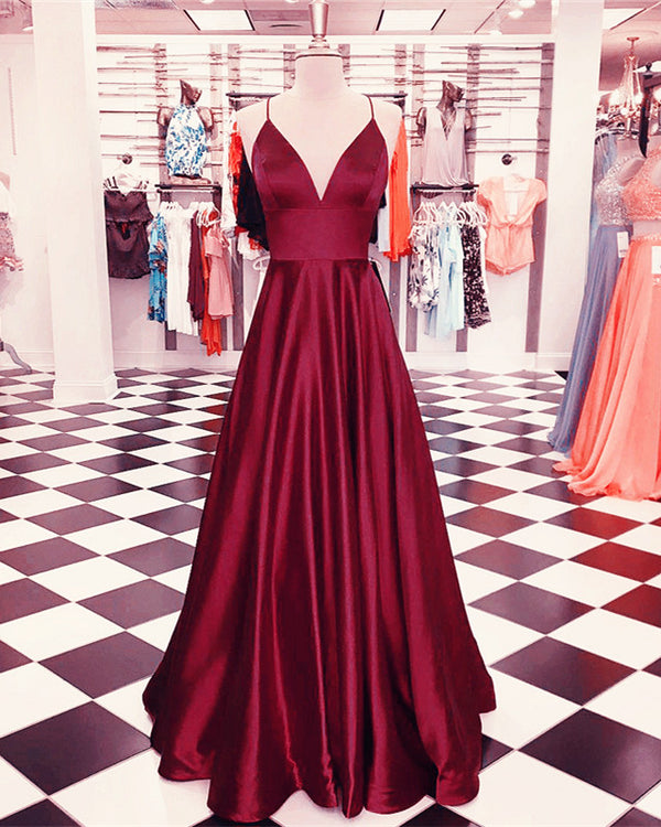 Plunge V-neck Empire Satin Prom Dresses Long